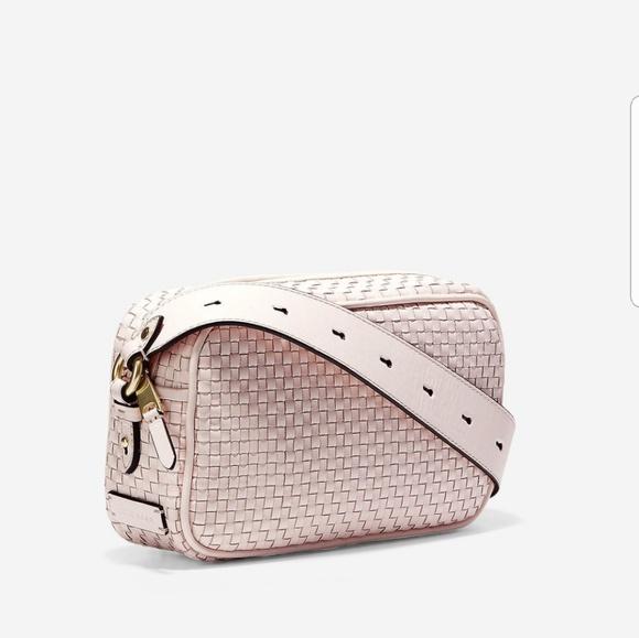 Cole Haan Bags   Nwt Zoe Woven Pink Leather Camera Bag   Poshmark fb6b60ae99